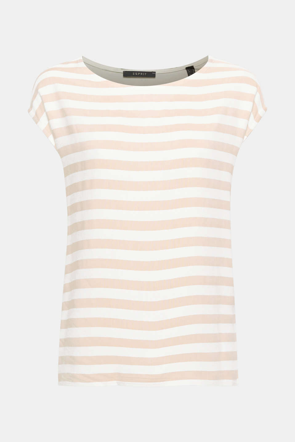 Ultra lightweight and supersoft: straight cut blouse top with a striped front and plain back