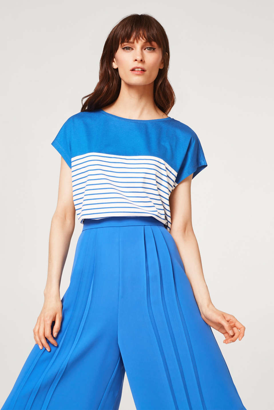 Esprit - Striped stretch T-shirt with colour blocking