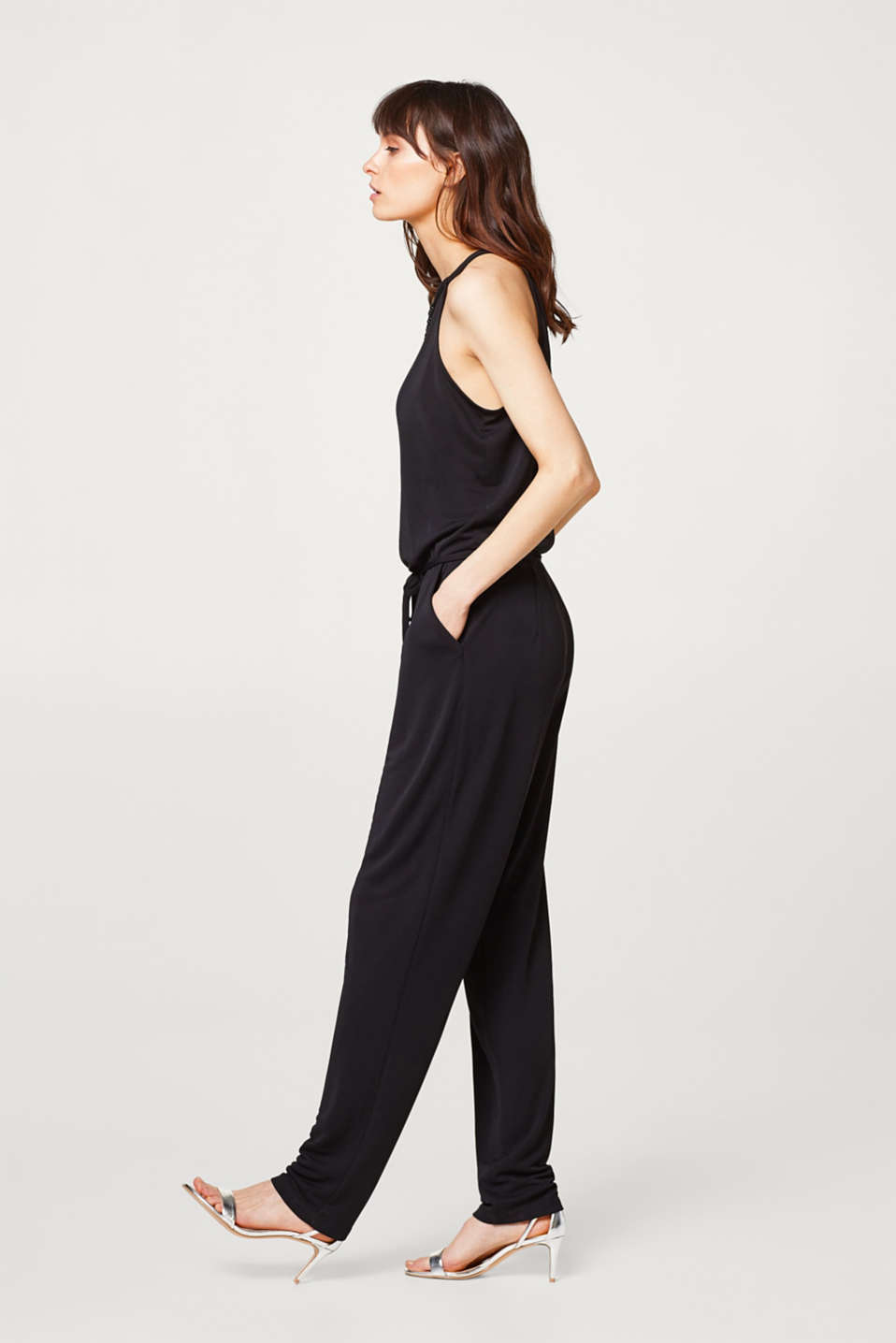 Esprit - Soft draped jersey jumpsuit with decorative beads