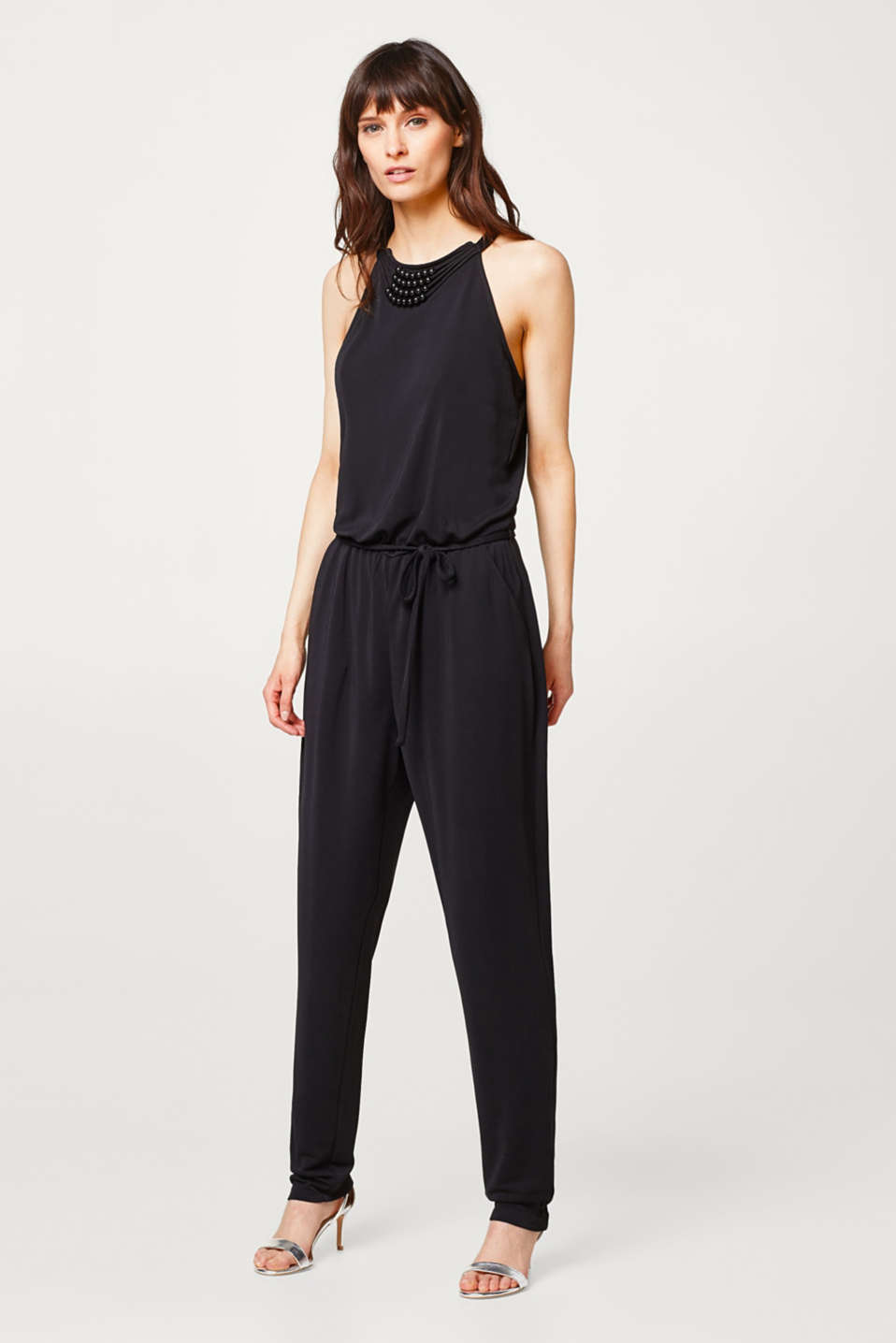 Soft draped jersey jumpsuit with decorative beads