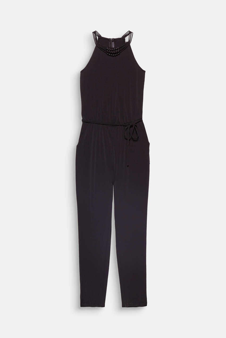 Works for formal occasions and an after-work party: softly draped jersey jumpsuit with cut-away shoulders and decorative beads on the neckline!
