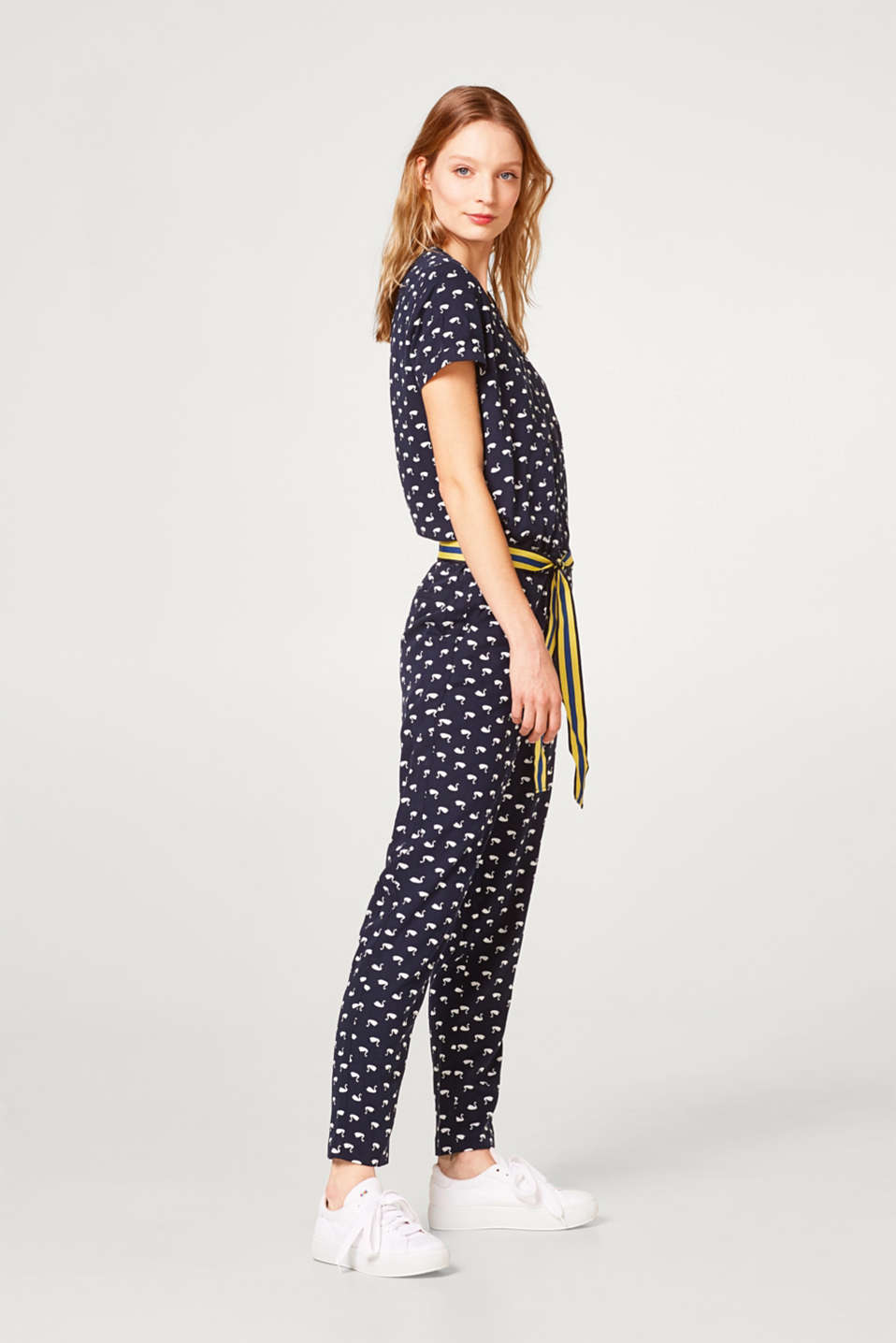 Esprit - Lightweight jumpsuit with a swan print