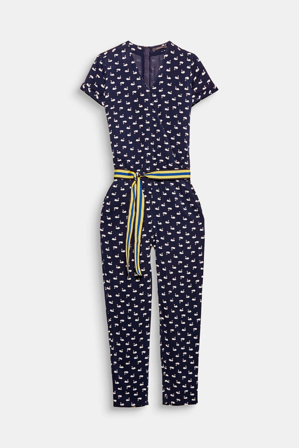 Your good mood piece is here: an airy, lightweight, woven jumpsuit with a stylish swan print, striped grosgrain ribbon and contrasting zip at the back!