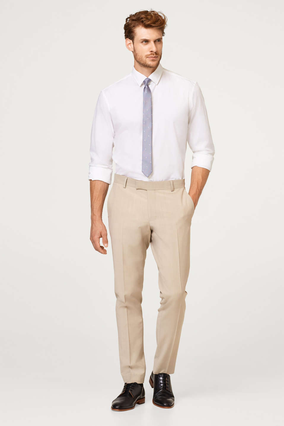 Esprit - Finely texture suit trousers with wool