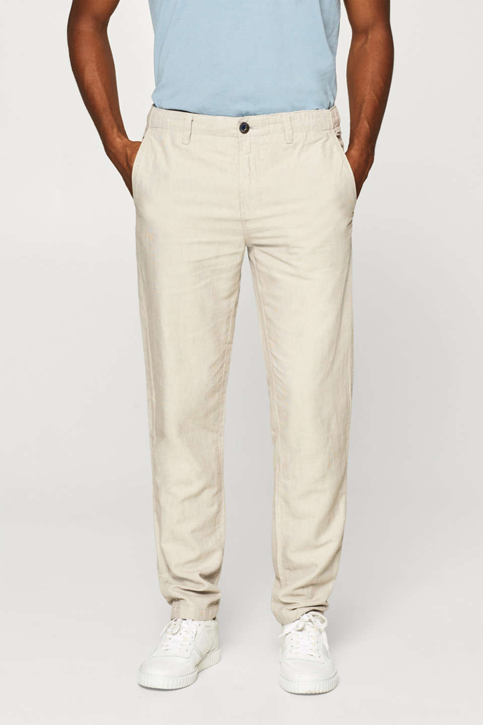 Esprit - Trousers with linen and a fine pattern