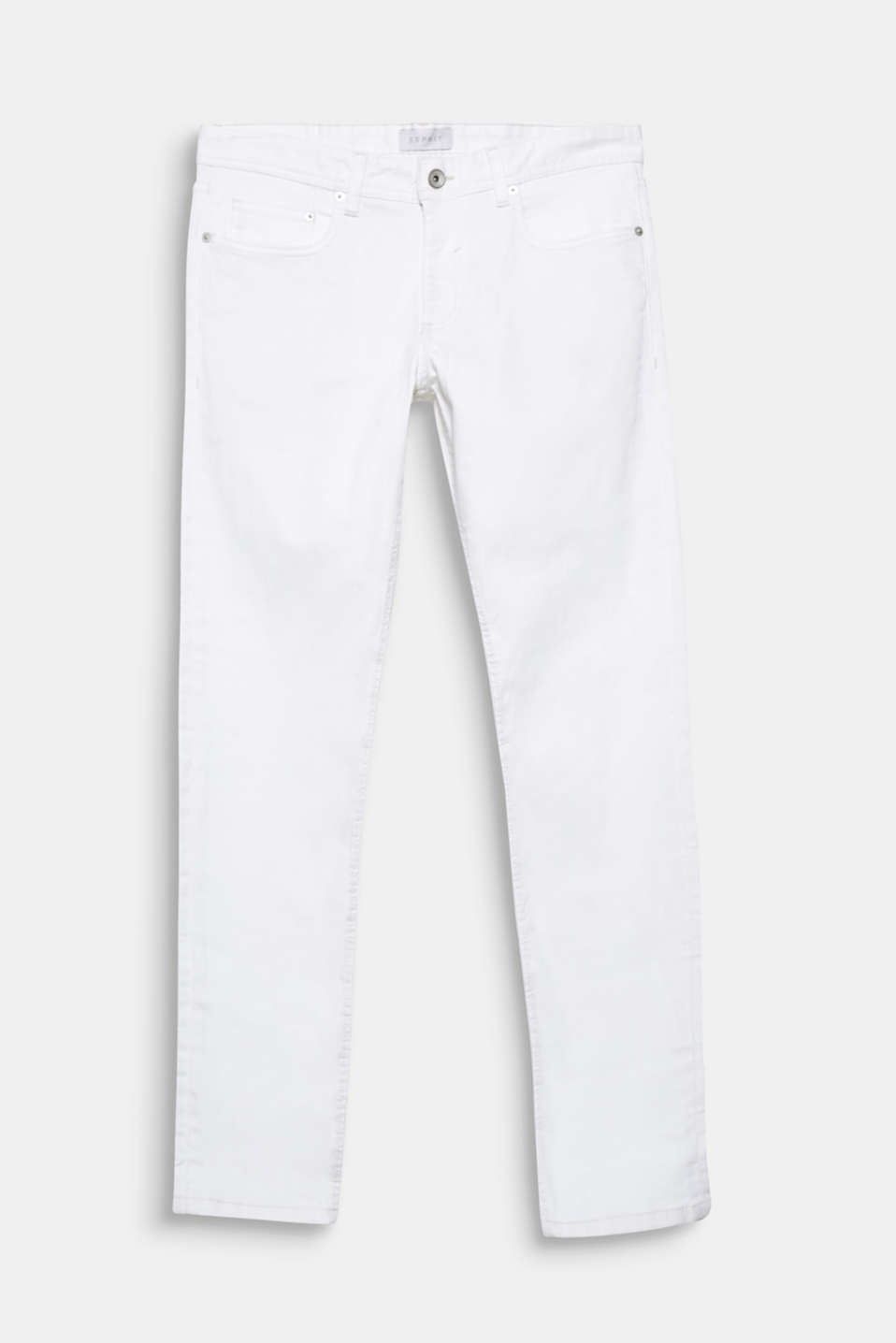 We love white denim! These slim fit five-pocket jeans are defined by their crisp white dye effect.