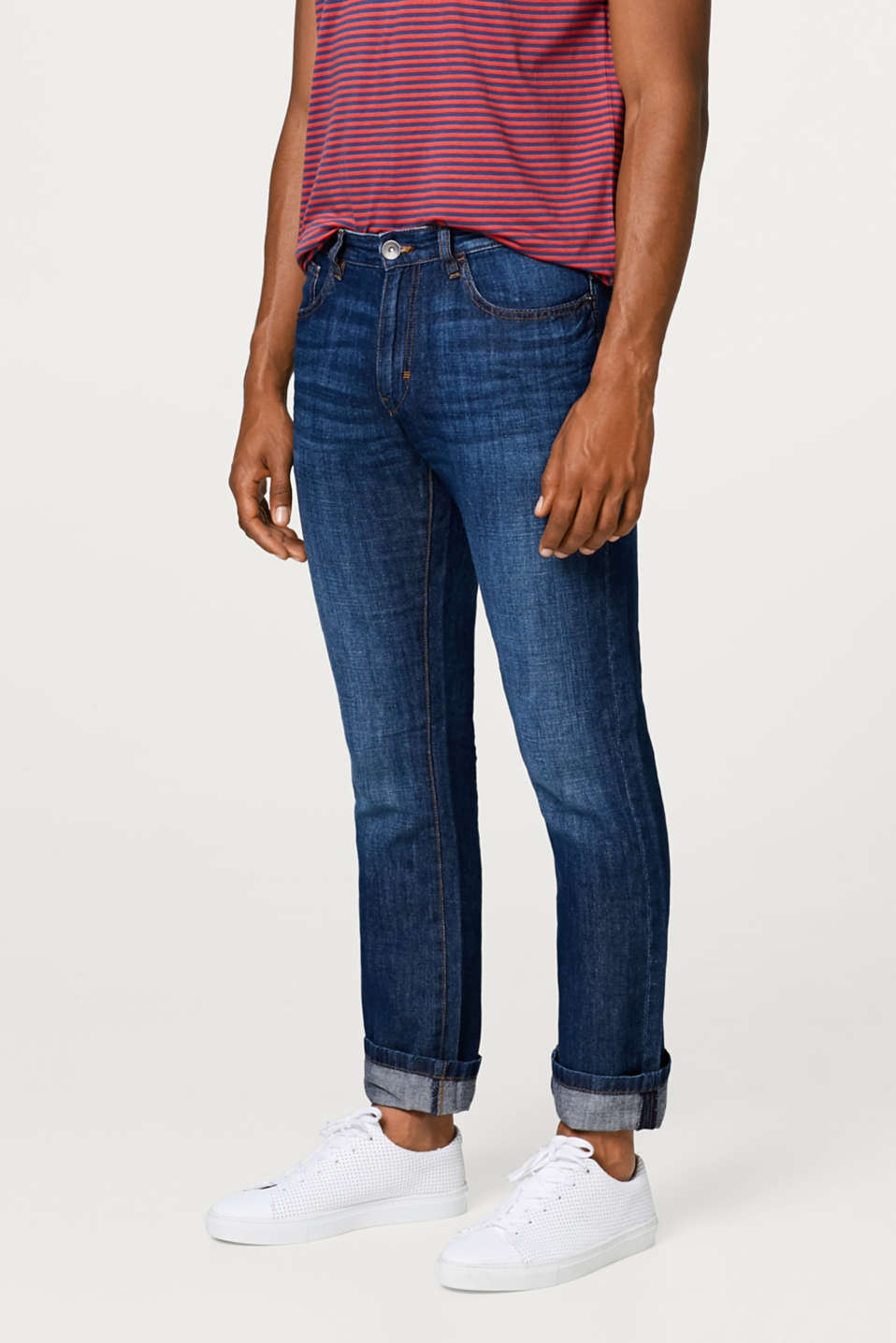 Esprit - Lightweight jeans in a cotton-linen blend