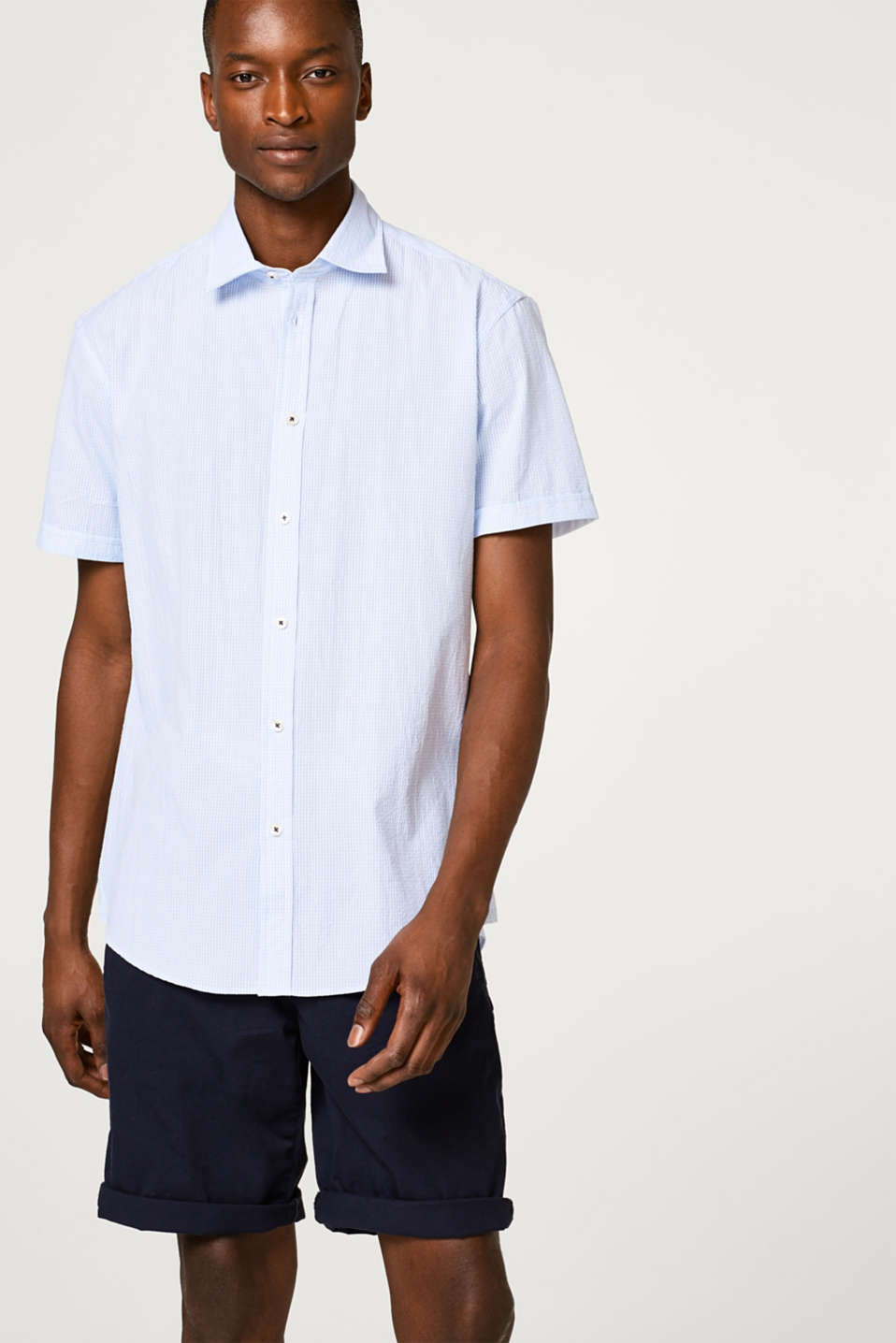 Esprit - Lightweight seersucker short sleeve shirt