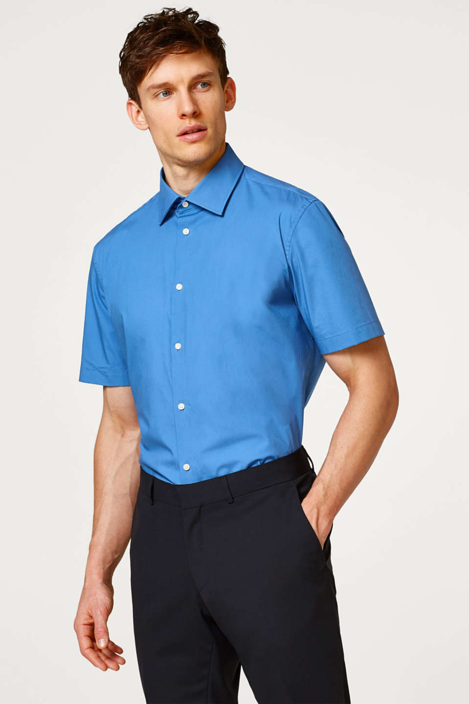 Esprit - Easy-iron short sleeve shirt with a Kent collar