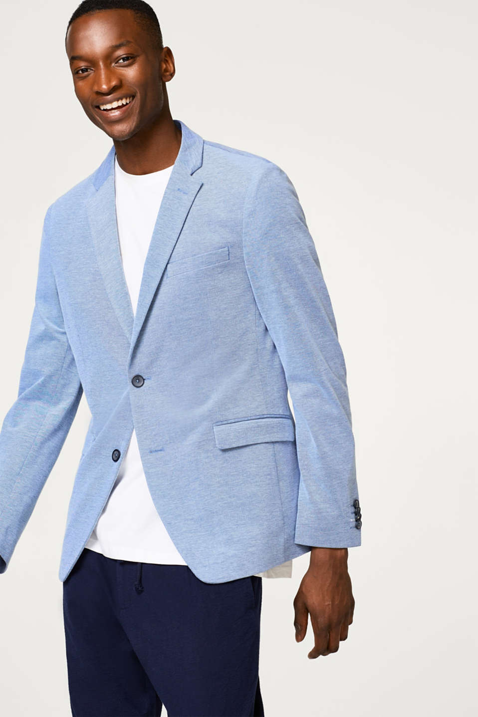 Esprit - Lightweight tailored summer jacket in a cotton blend