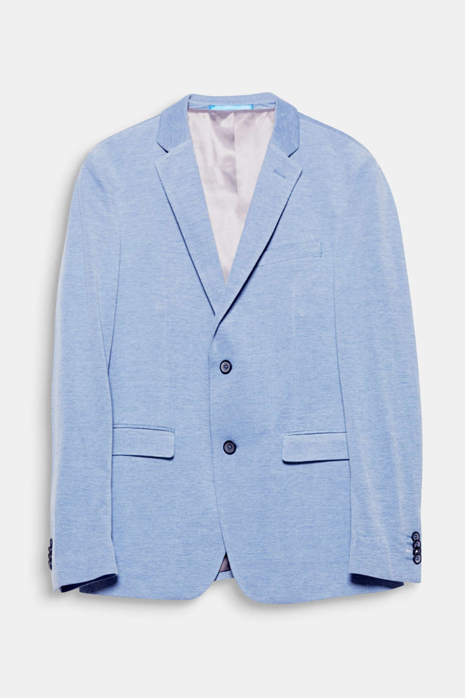 Extra slim! The extra slim fit and the two-tone jersey give this tailored jacket a modern summery look.