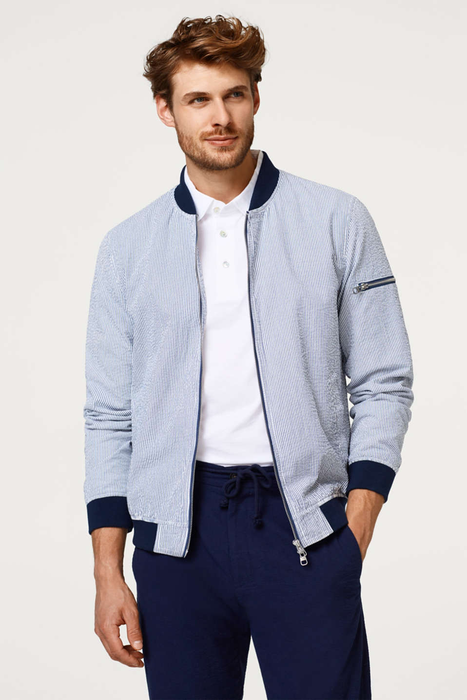 Esprit - Striped bomber jacket in seersucker