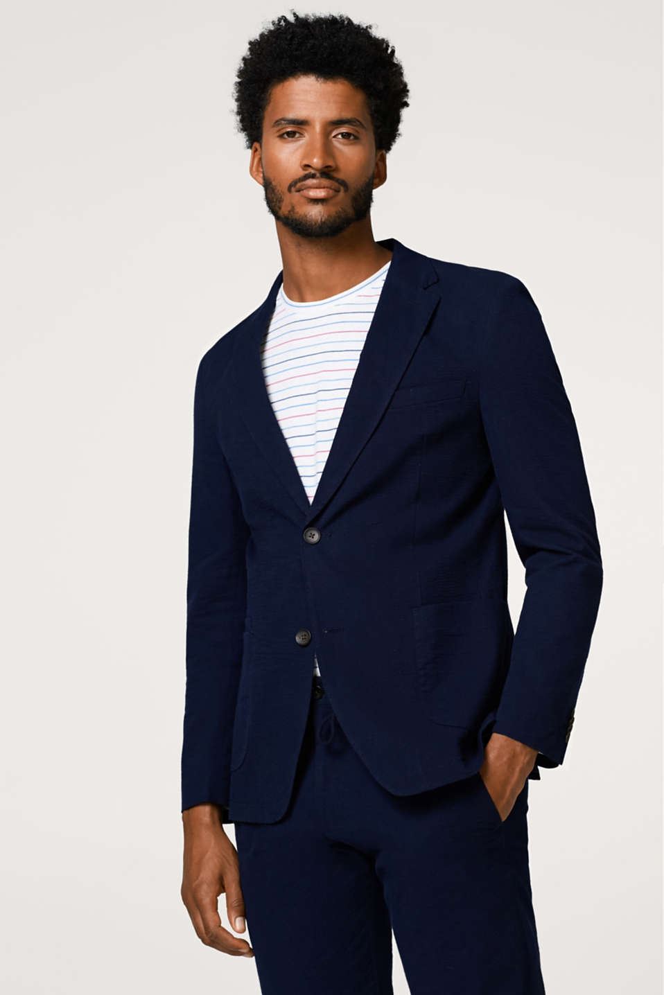 Esprit - SEERSUCKER mix + match: cotton mens blazer