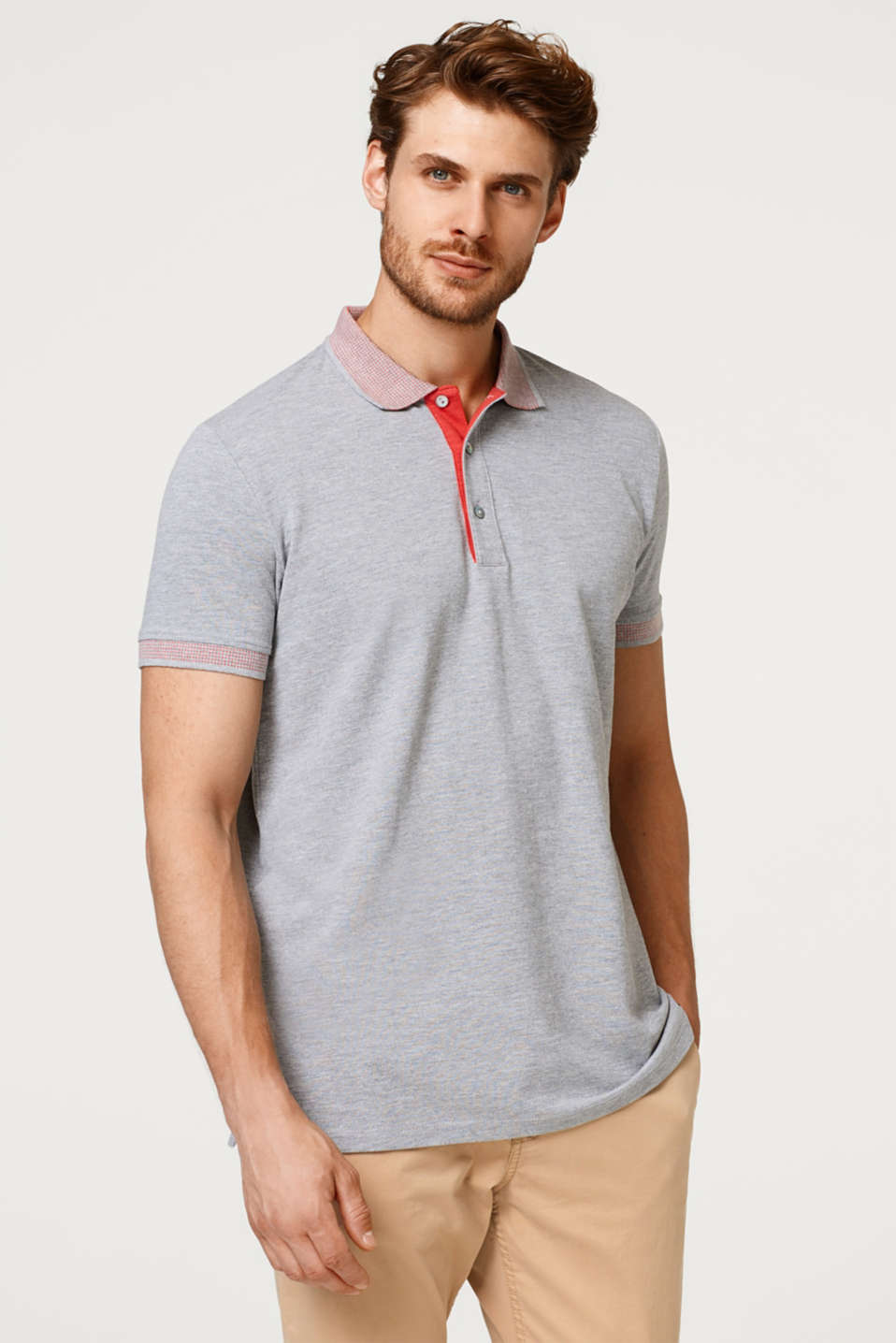 Esprit - Straight piqué polo shirt with an accentuated collar