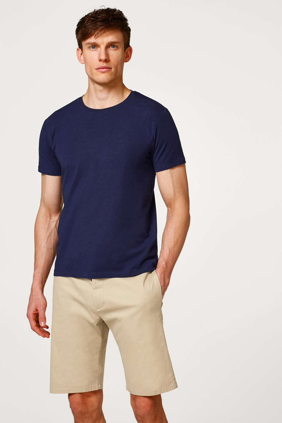 Esprit - Basic T-shirt i jersey med stretch