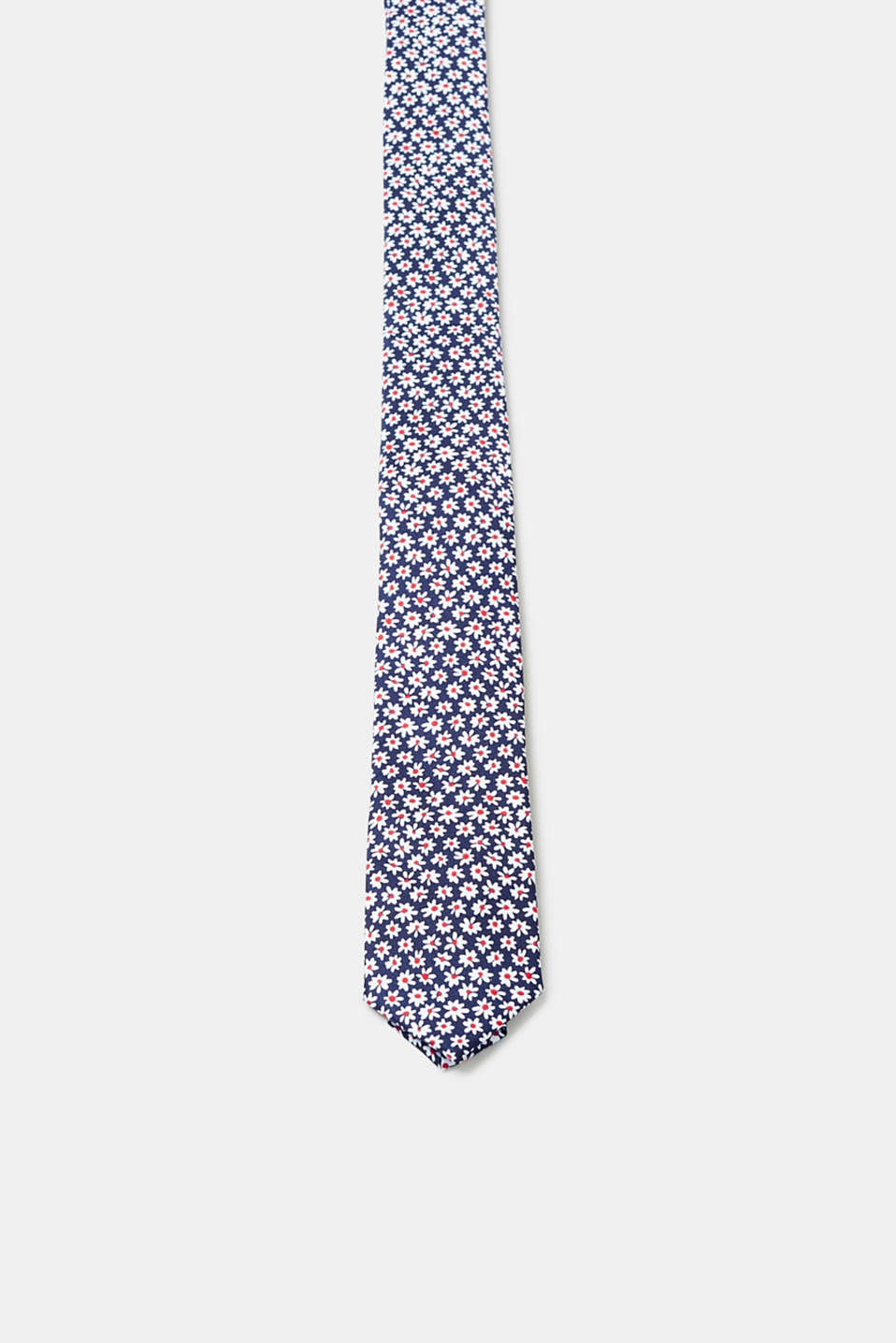 Esprit - Narrow tie with a floral pattern