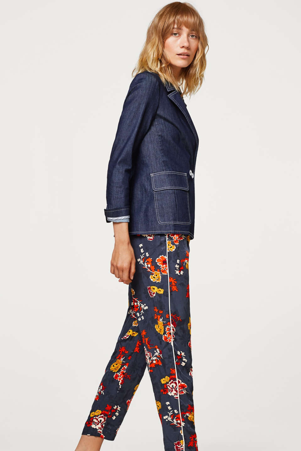 Floral jacquard trousers in a pyjama style