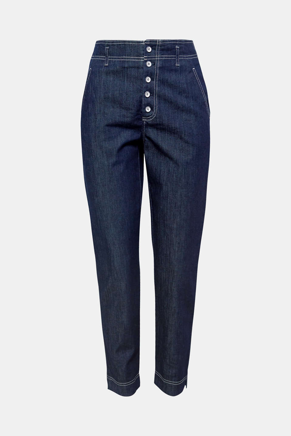 Chinos go denim: the unembellished, dark blue denim fabric, striking button fly and totally trendy cut featuring cropped legs make these chinos absolutely awesome.