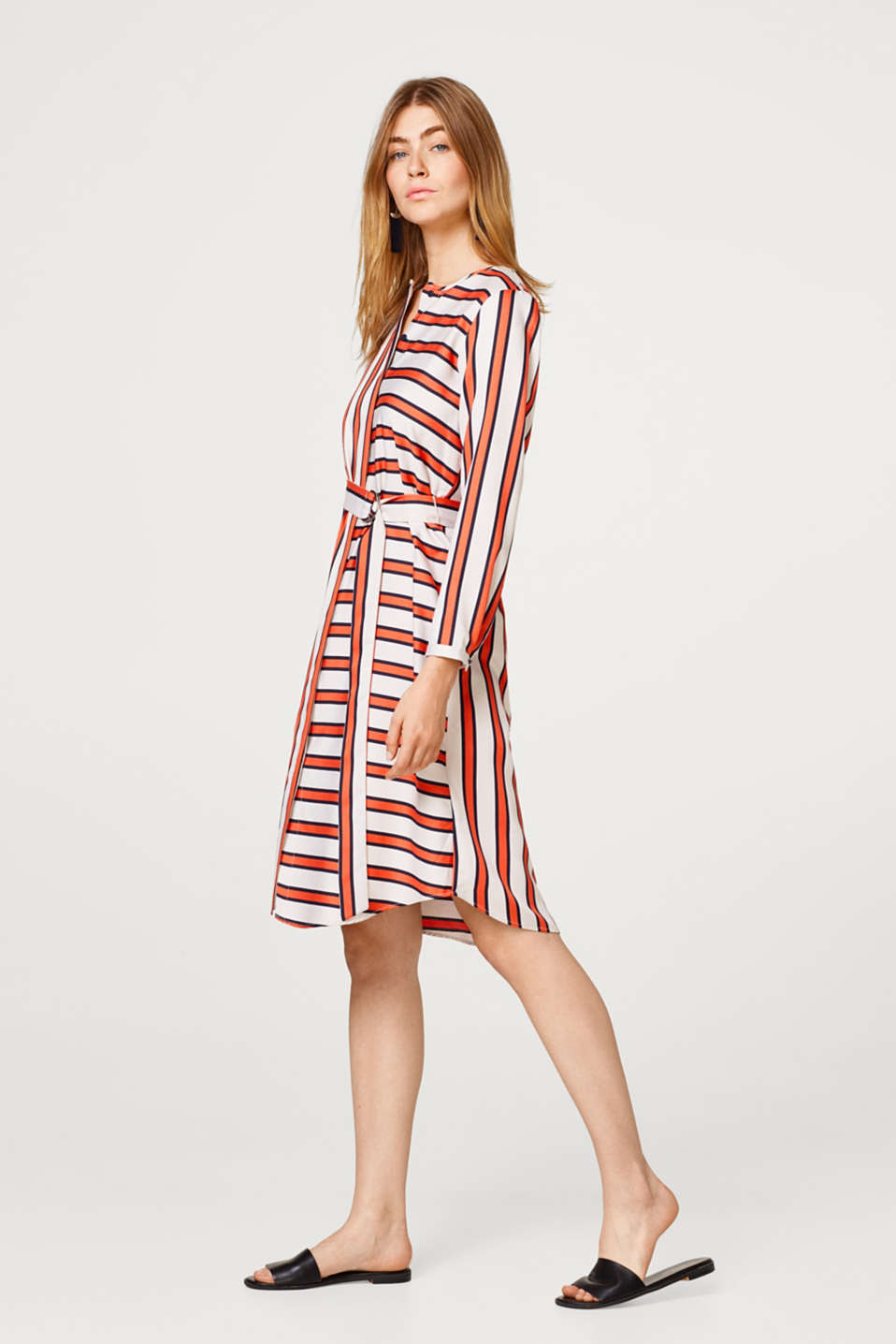 Soft midi length dress in a new striped look