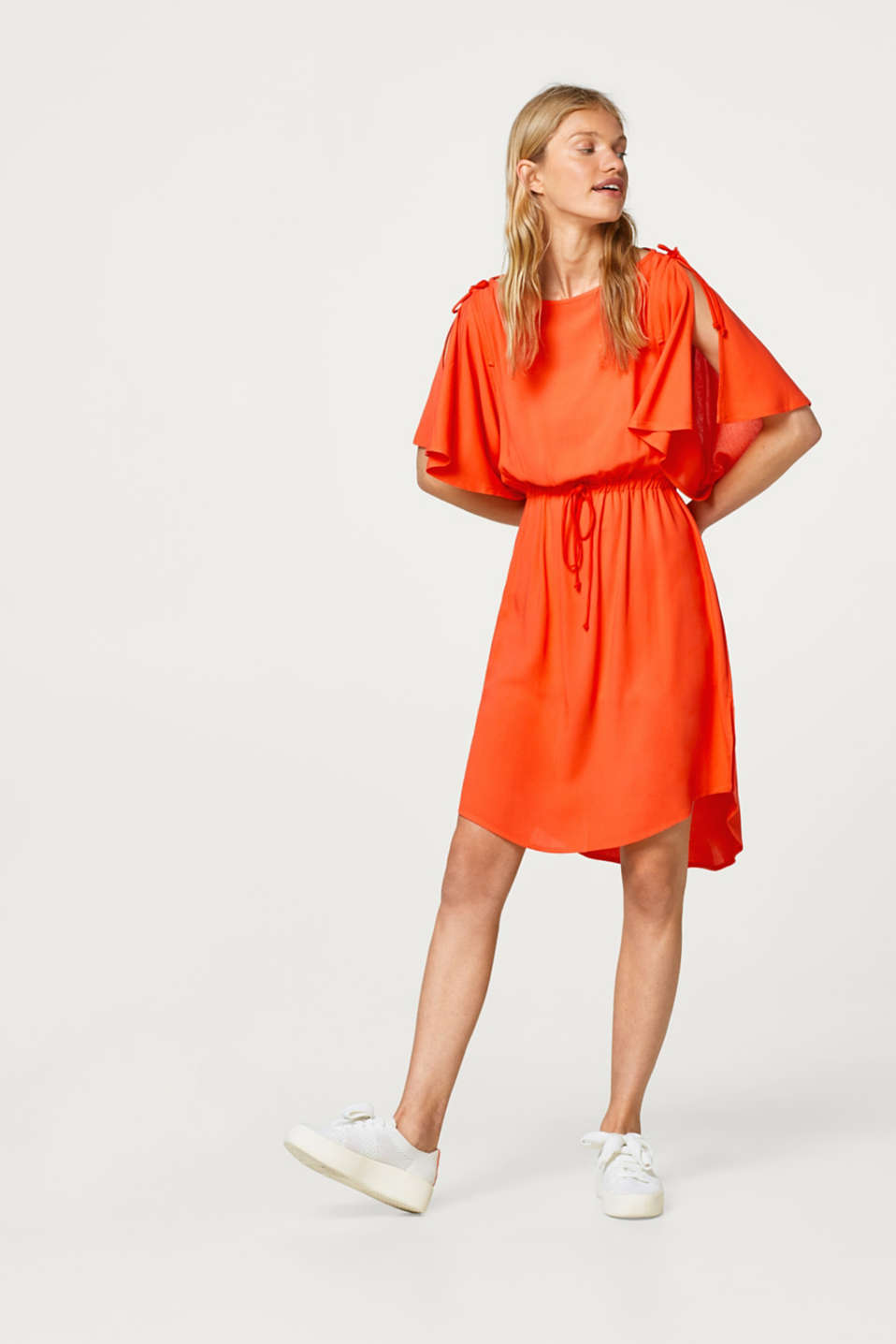Esprit - Dress with wide flounce sleeves