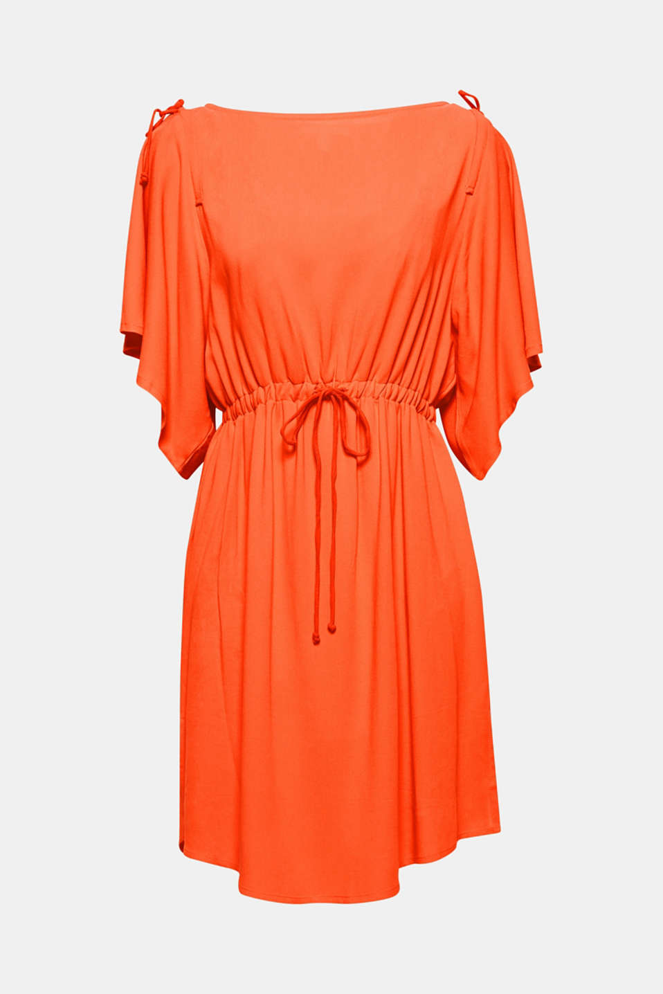 The flounce sleeves decorated with bows and flowing, pure viscose fabric give this dress a stylish, ultra feminine vibe.