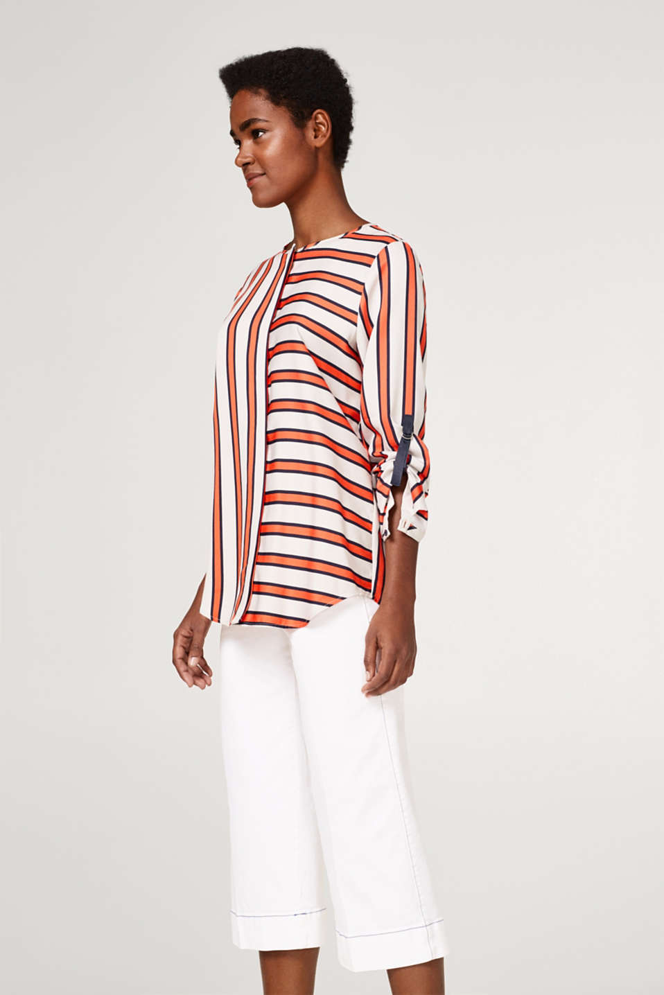 Esprit - Striped oversized blouse with turn-up sleeves
