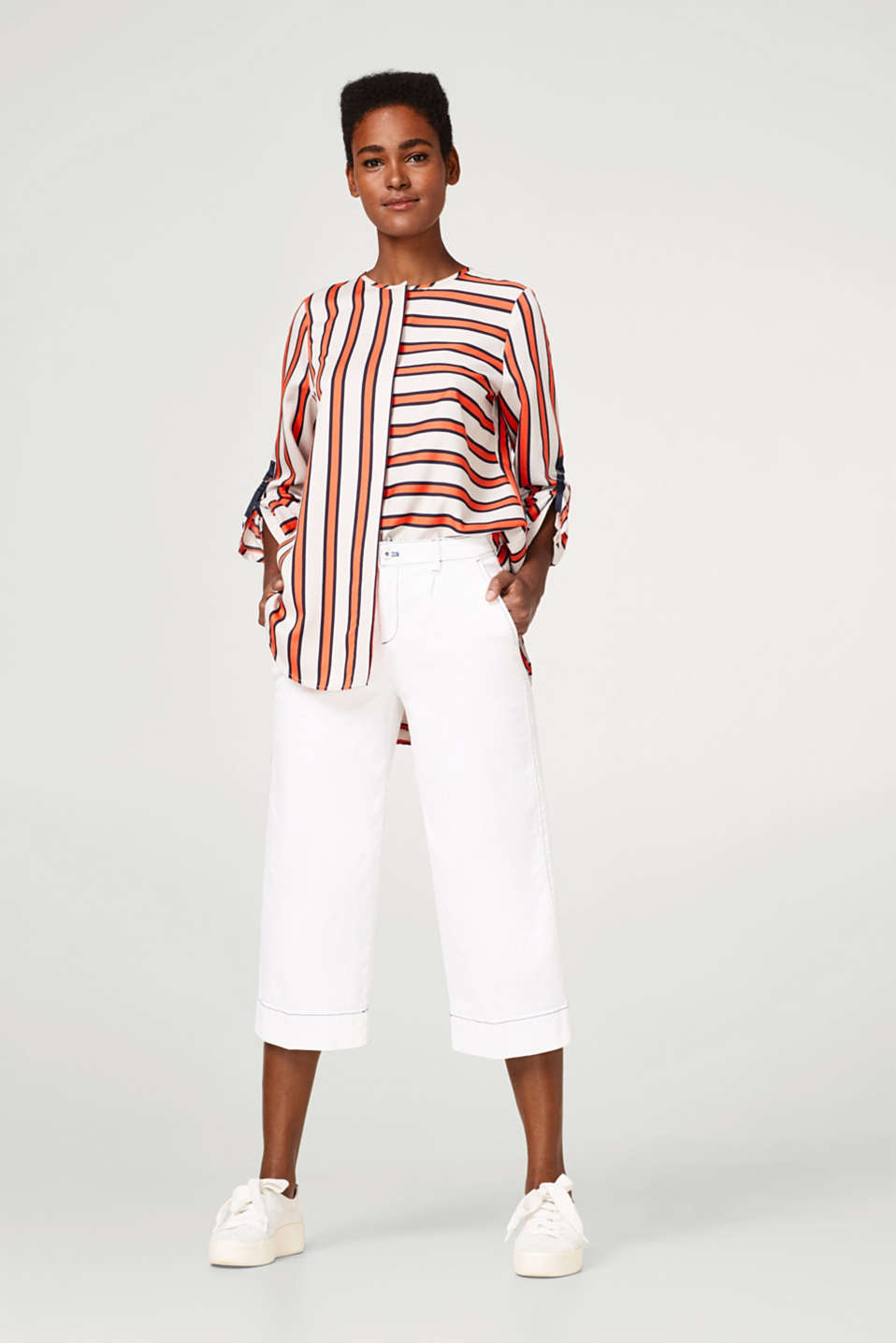 Striped oversized blouse with turn-up sleeves