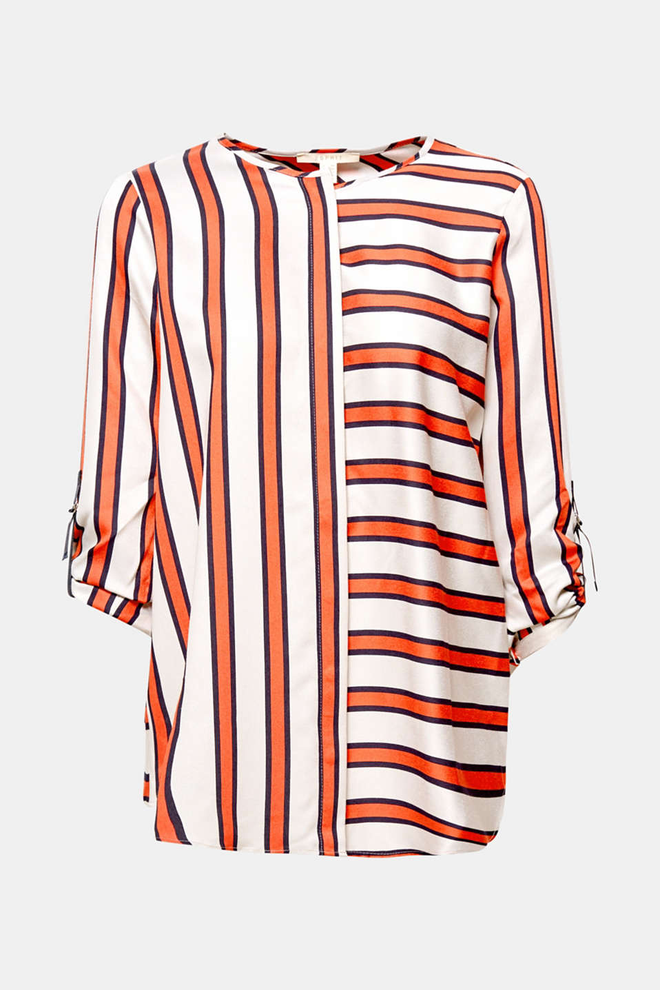 Fashion piece: On this flowing blouse, the opposing stripes create an innovative trend look in combination with the draped back!
