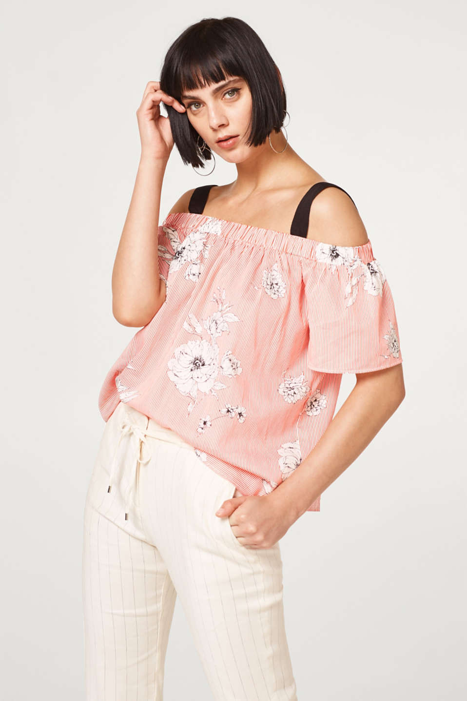 Esprit - Printed off-the-shoulder blouse in 100% cotton
