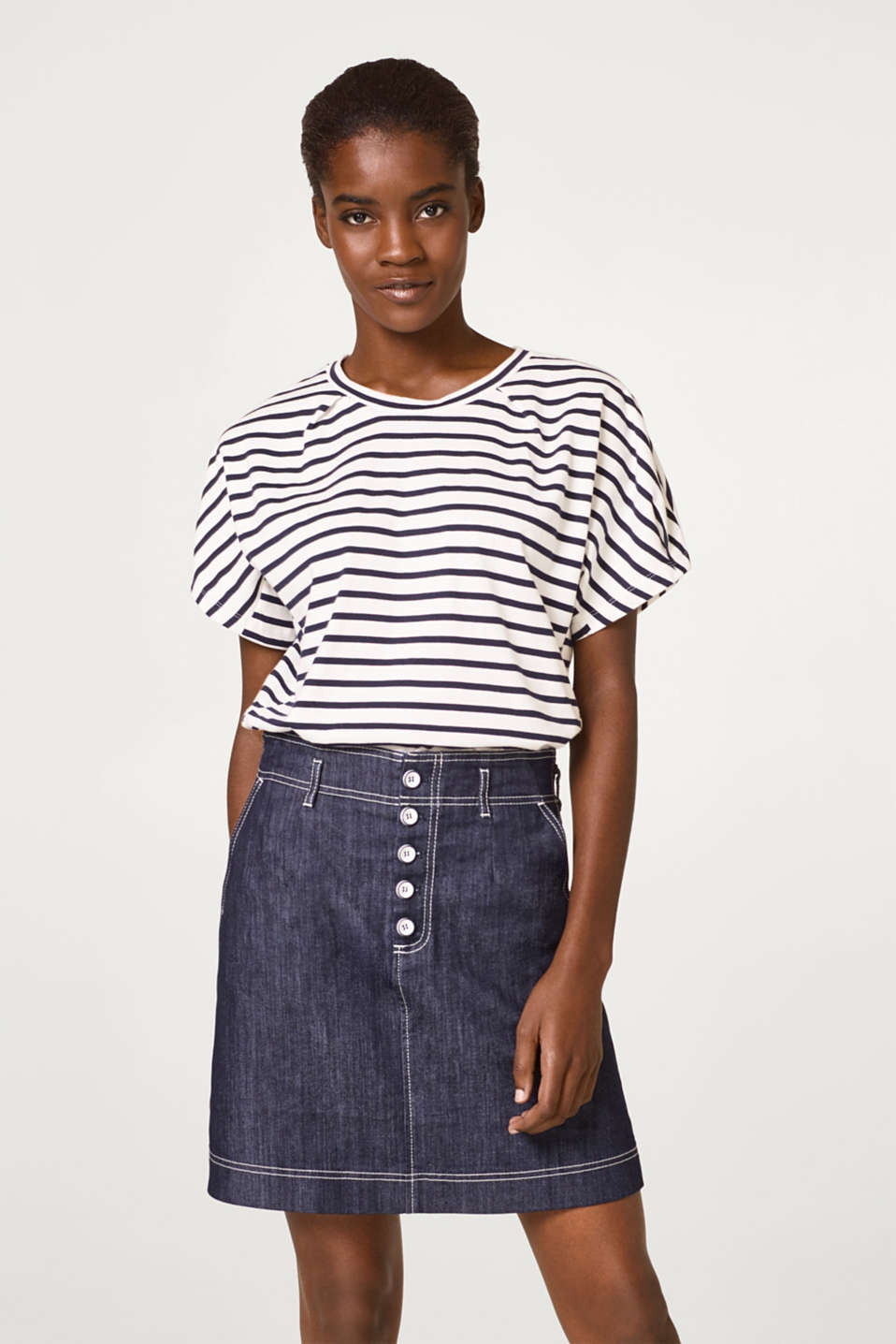Esprit - Striped T-shirt with pleat details, 100% cotton