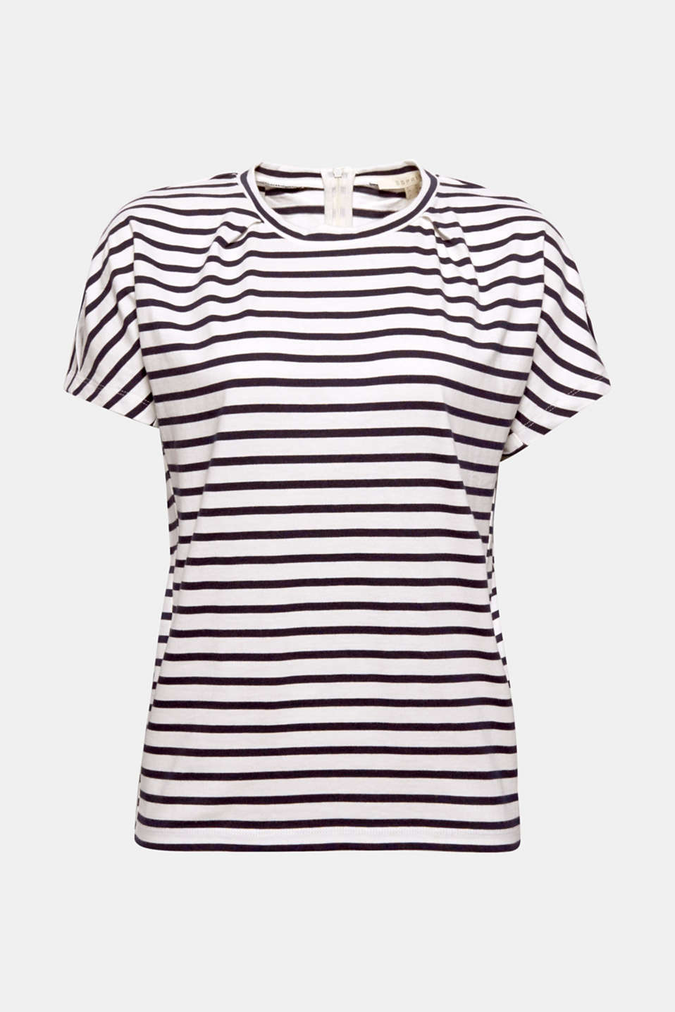 Decorative pleats and wide, cut-on sleeves give this classic striped T-shirt an ultra fashionable note.