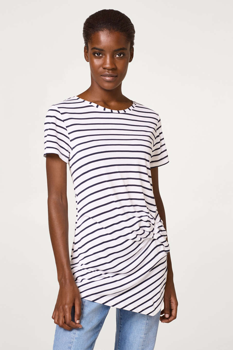 Esprit - Lightweight, striped T-shirt with pleats