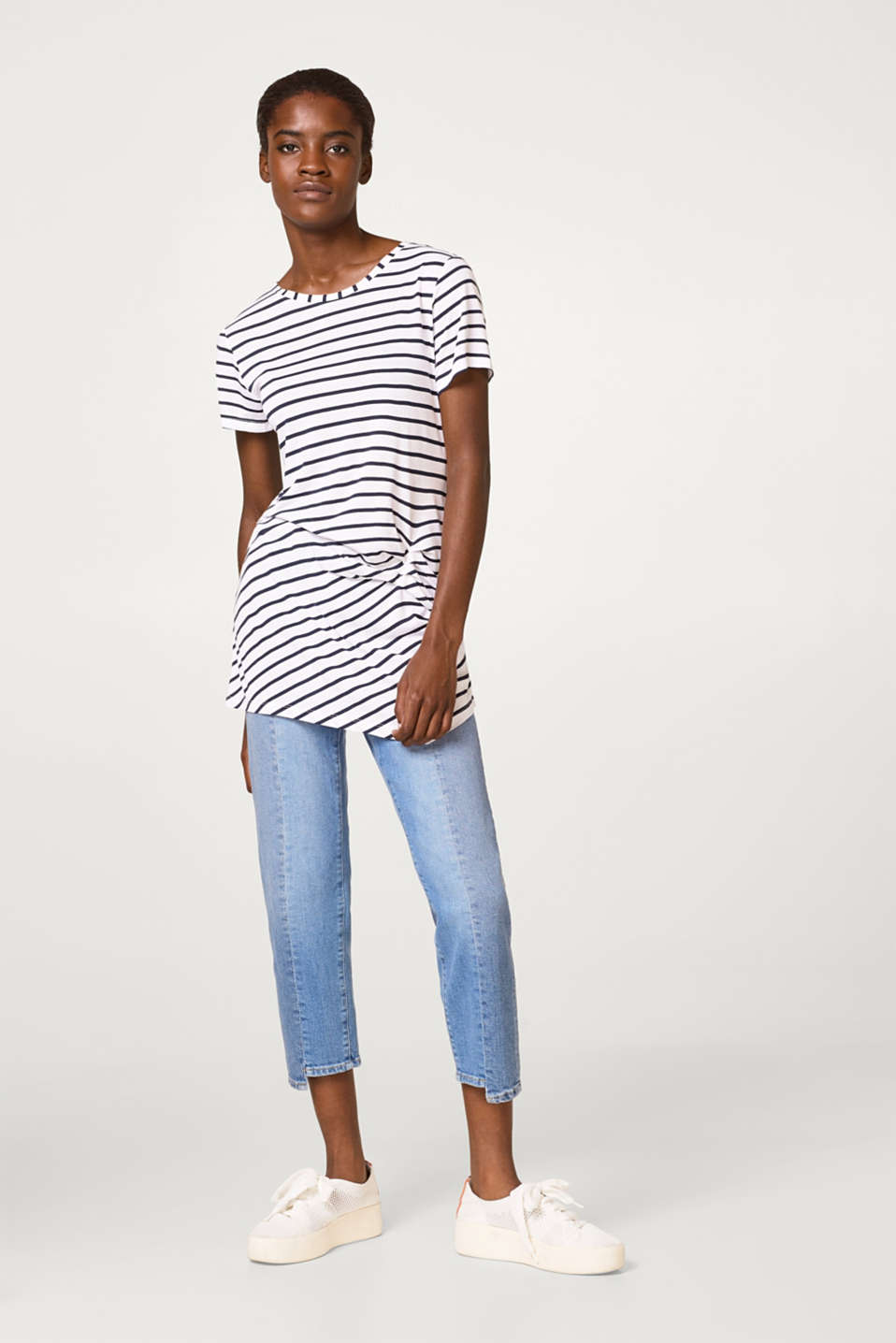 Lightweight, striped T-shirt with pleats