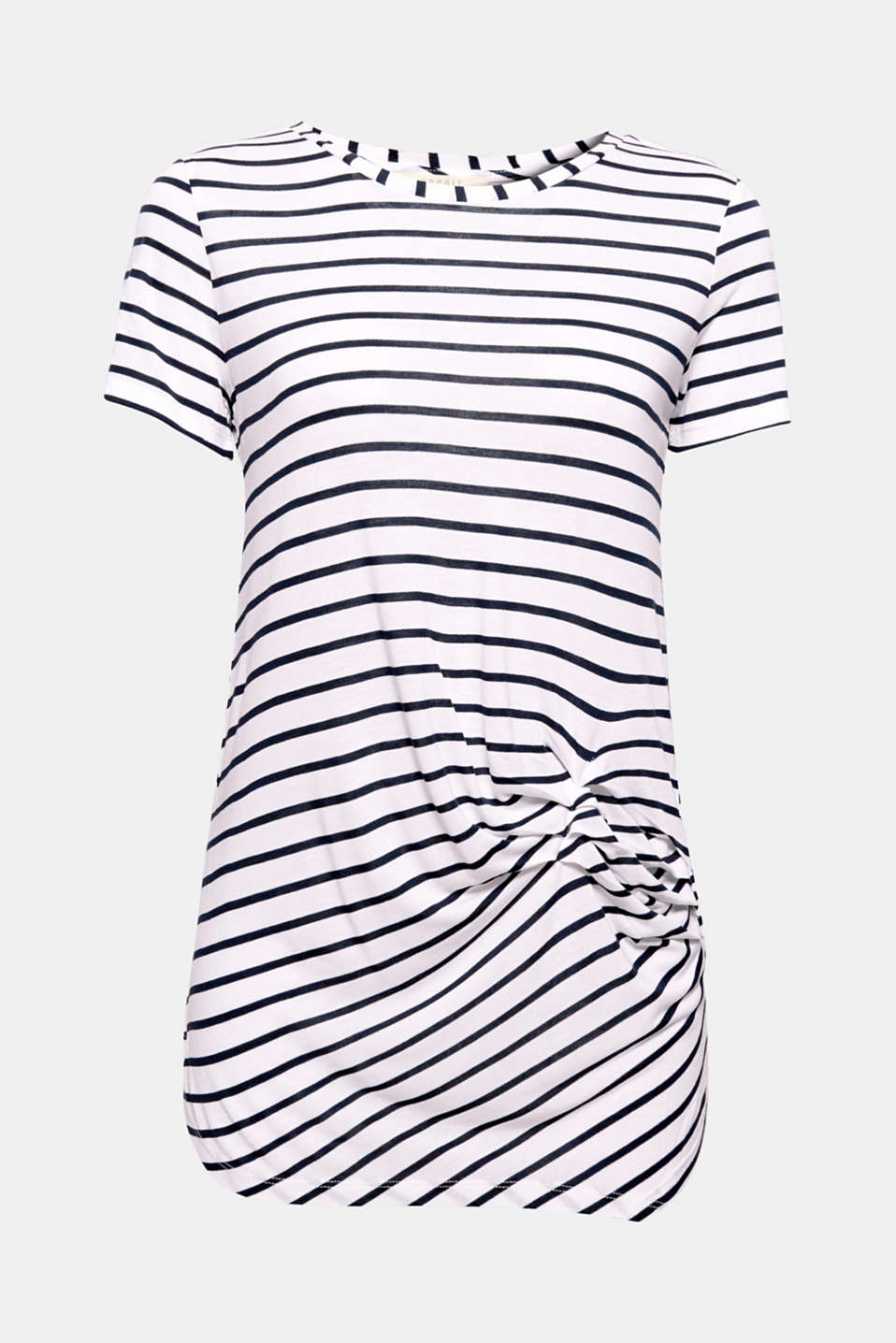 Decorative pleats and a asymmetric hem give this long, striped T-shirt a new and trendy nautical look.