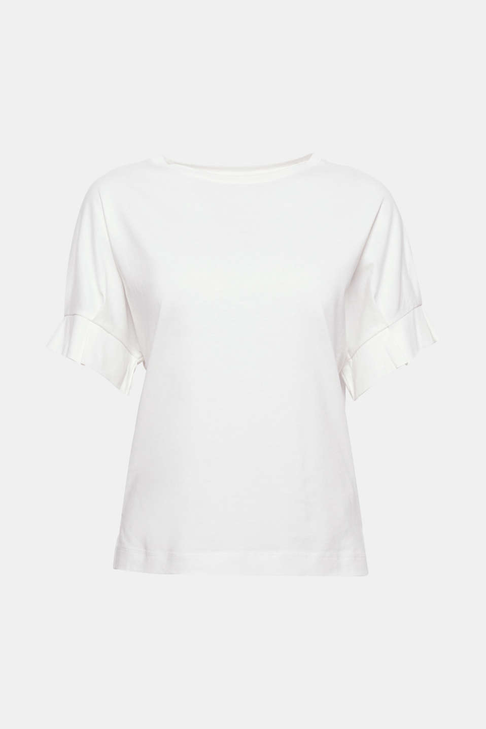 The short, finely pleated raglan sleeves give this relaxed T-shirt an innovative, trendy twist.