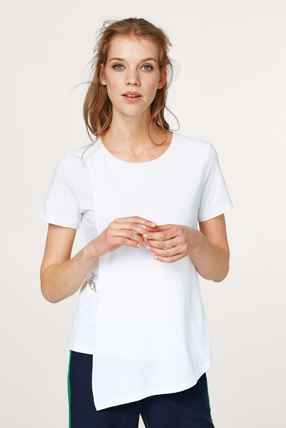 Esprit - Delicate top with a wrap-over effect and carabiner clasp