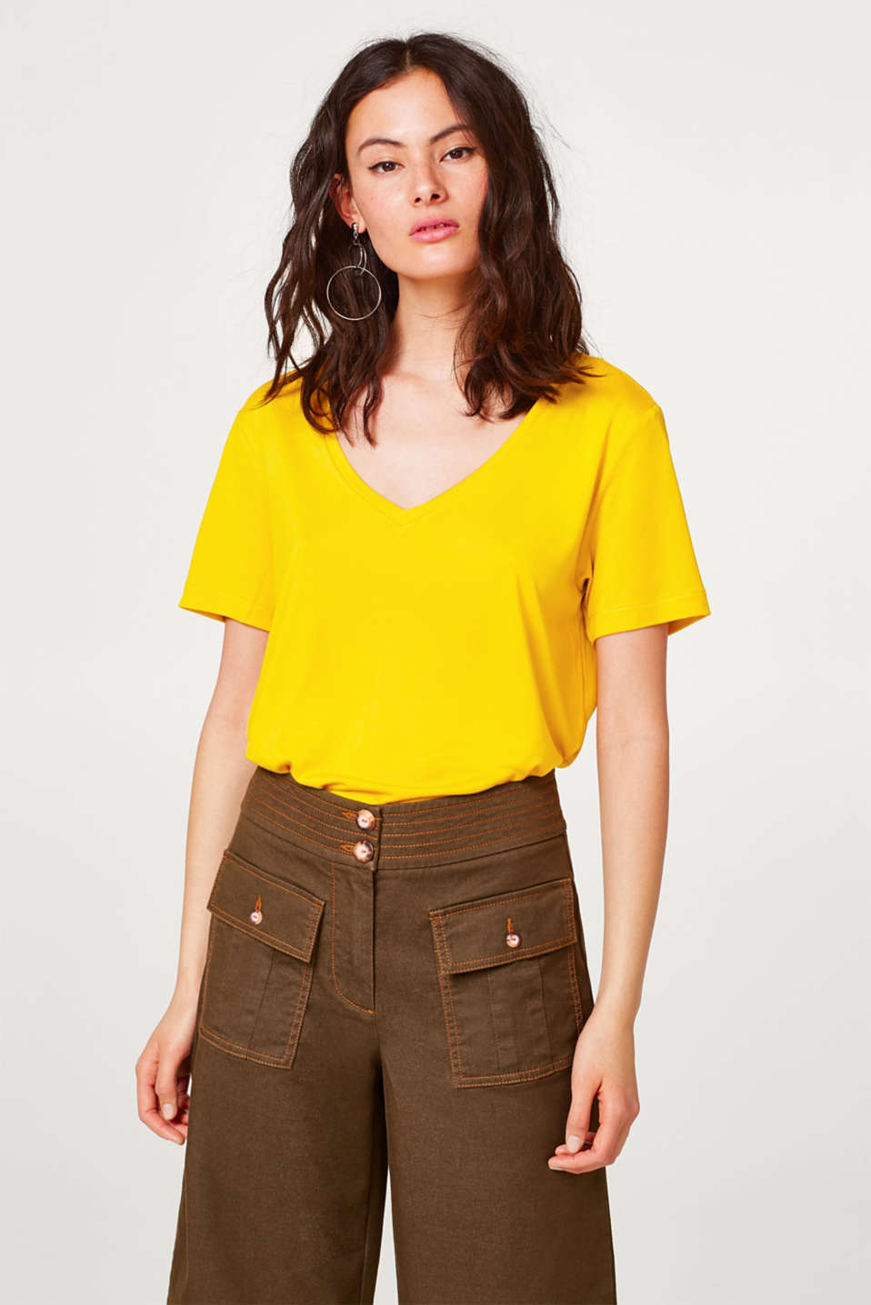 Esprit - Softly draped T-shirt with a wide V-neck