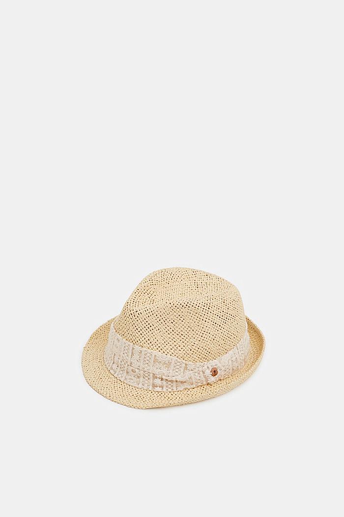 Sombrero de paja con cinta de malla bordada, CREAM BEIGE, detail image number 0