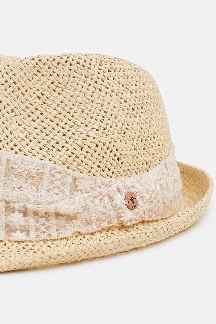 Sombrero de paja con cinta de malla bordada, CREAM BEIGE, detail image number 1