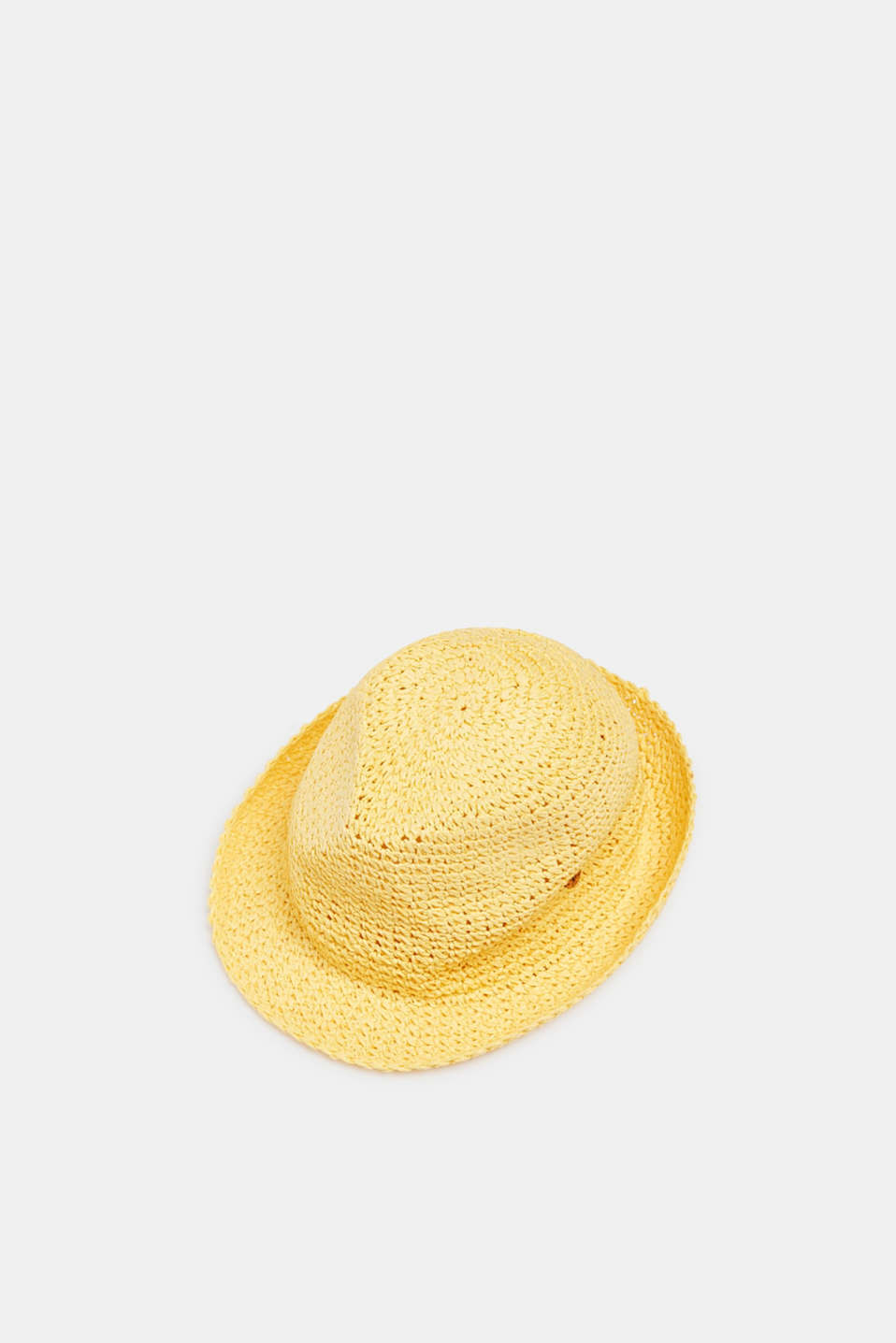 Crocheted trilby hat, LIGHT YELLOW, detail image number 0