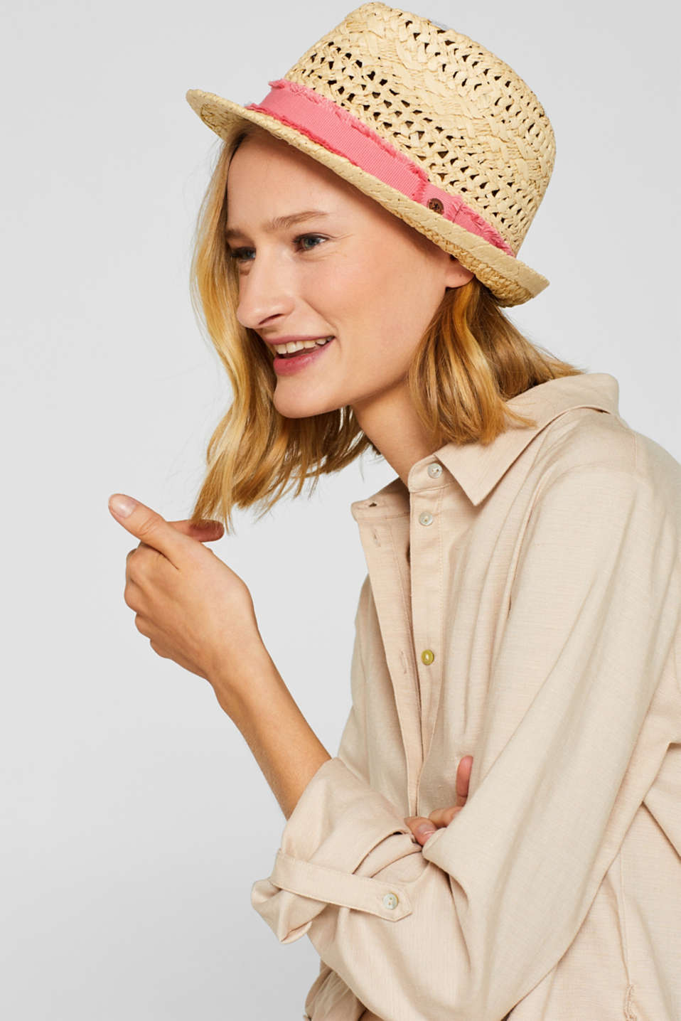Braided trilby hat made of straw, CREAM BEIGE, detail image number 2