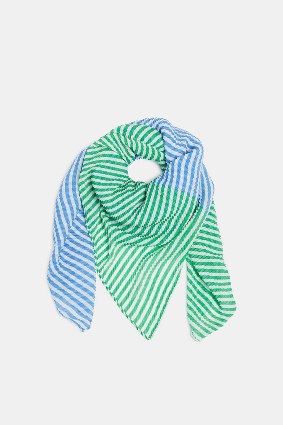 Pleated scarf with thin stripes, BLUE, detail image number 0