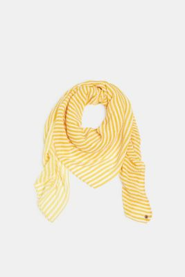 Pleated scarf with thin stripes, YELLOW, detail