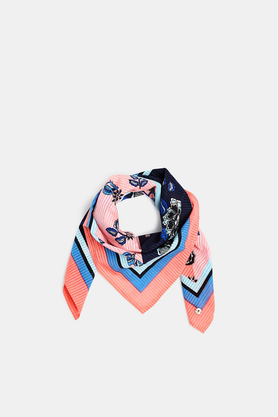 edc - Printed scarf with textured stripes, 100% cotton