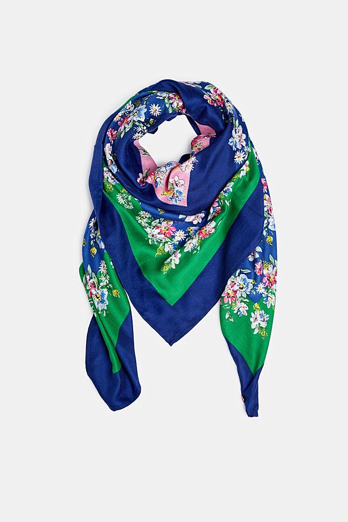 Pañuelo con estampado de flores, reciclado, DARK BLUE, detail image number 0