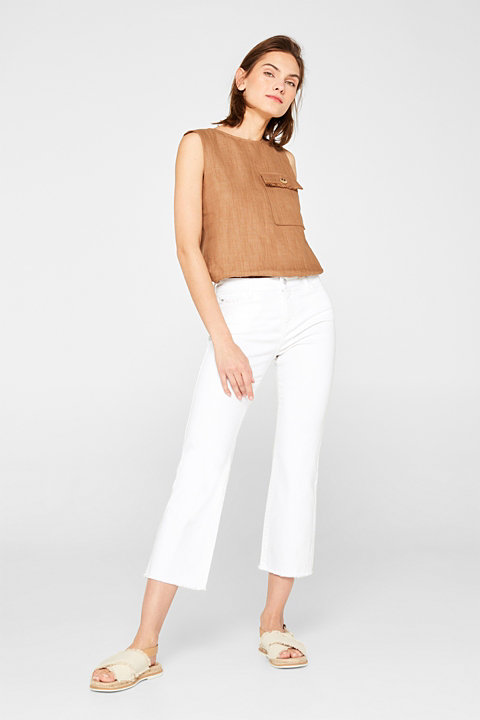 Organic cotton stretch jeans with frayed hems