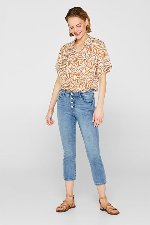 7/8-length stretch jeans with a button fly, organic cotton