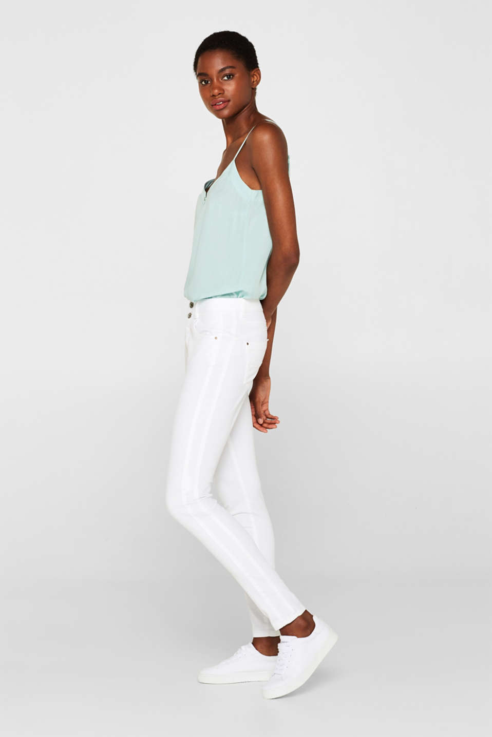 edc - Ankle-length stretch trousers with a button placket