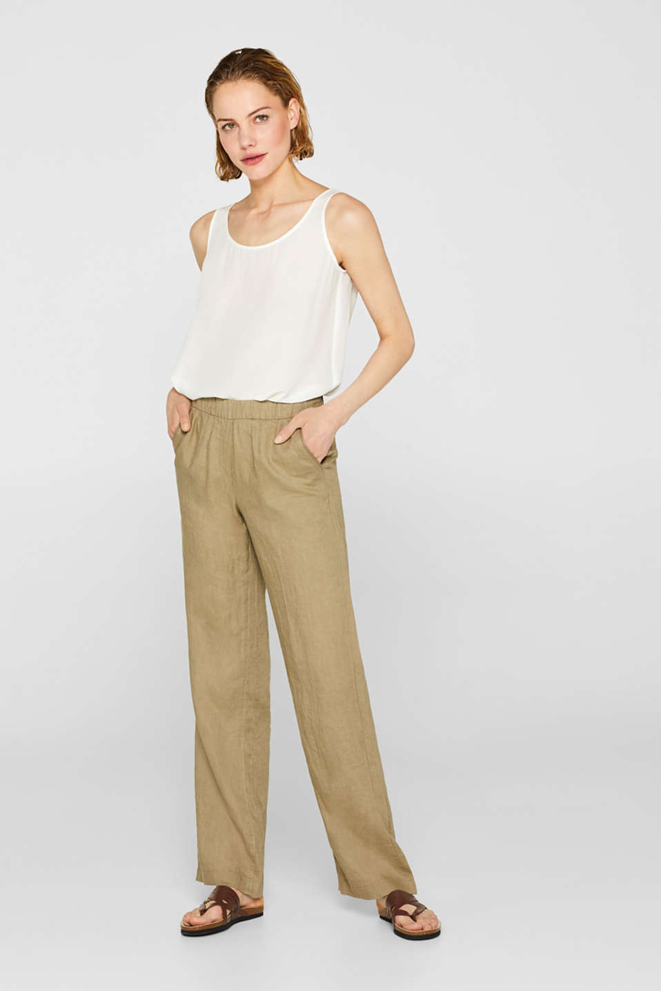 edc - Jogging bottoms in 100% linen