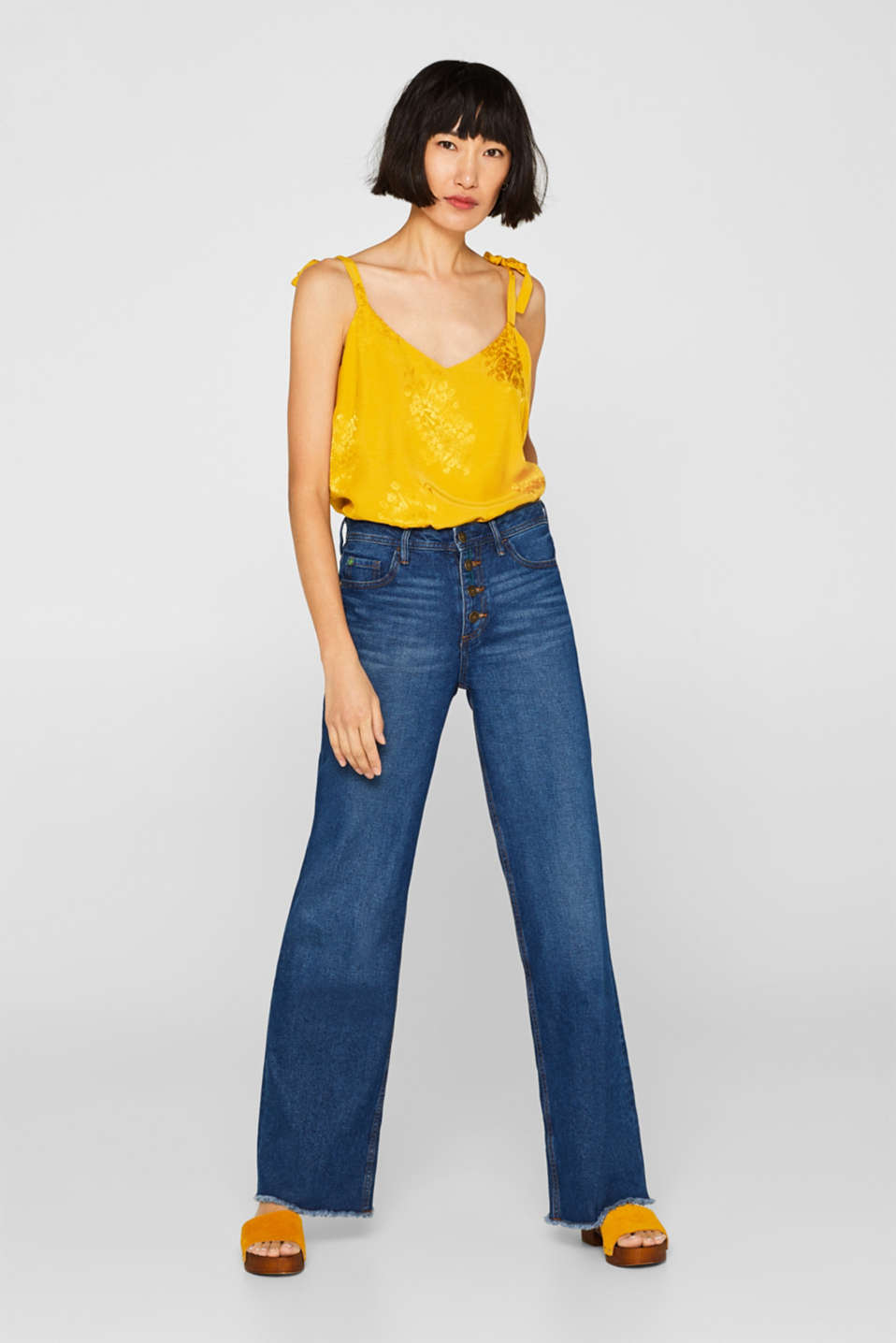 edc - Wide-leg jeans with a button placket